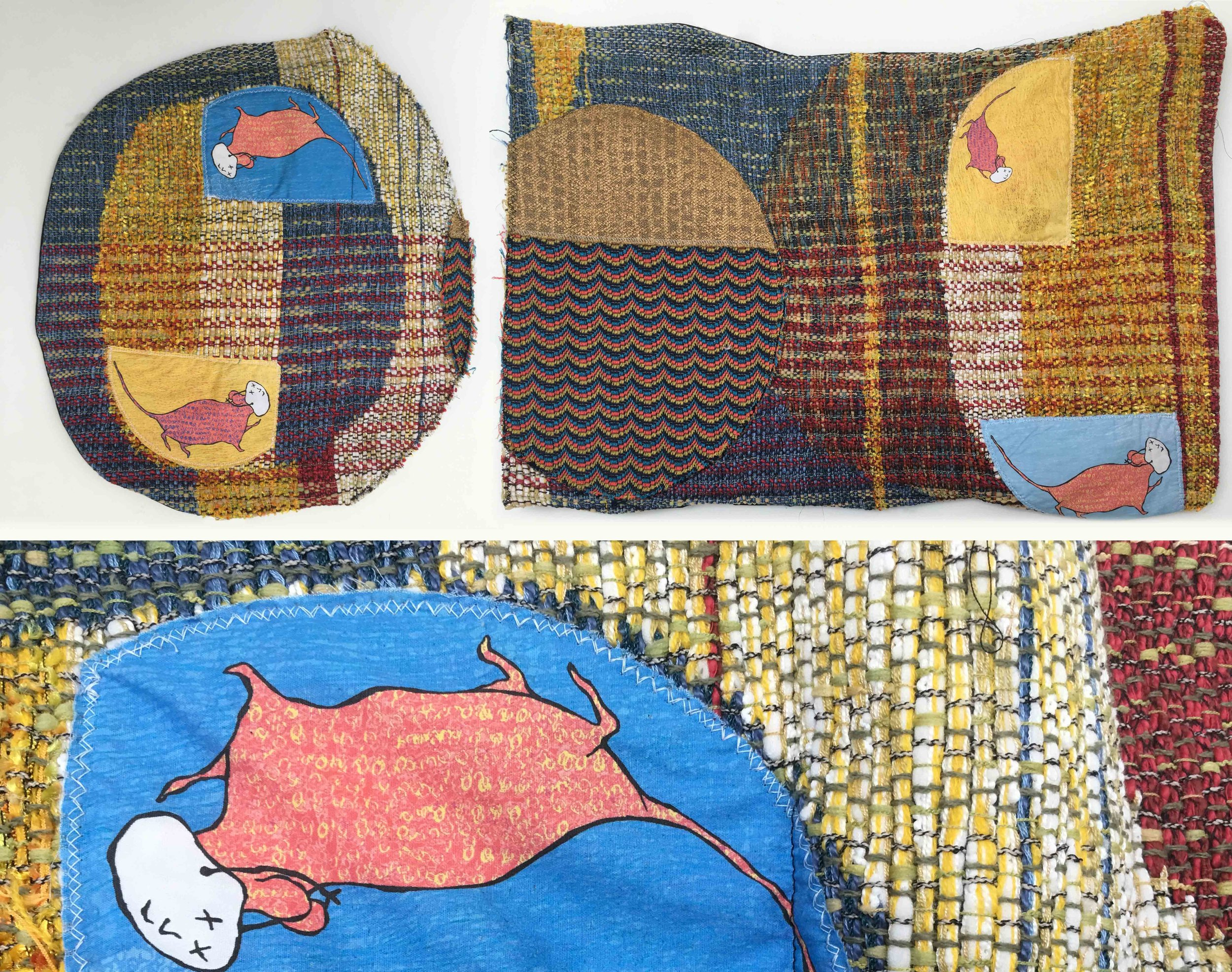 """My Heart is a Rat Race  h: 17"""" x w: 42"""" hand-woven and machine-made fabric, embroidery, inkjet prints, fleece 2017"""