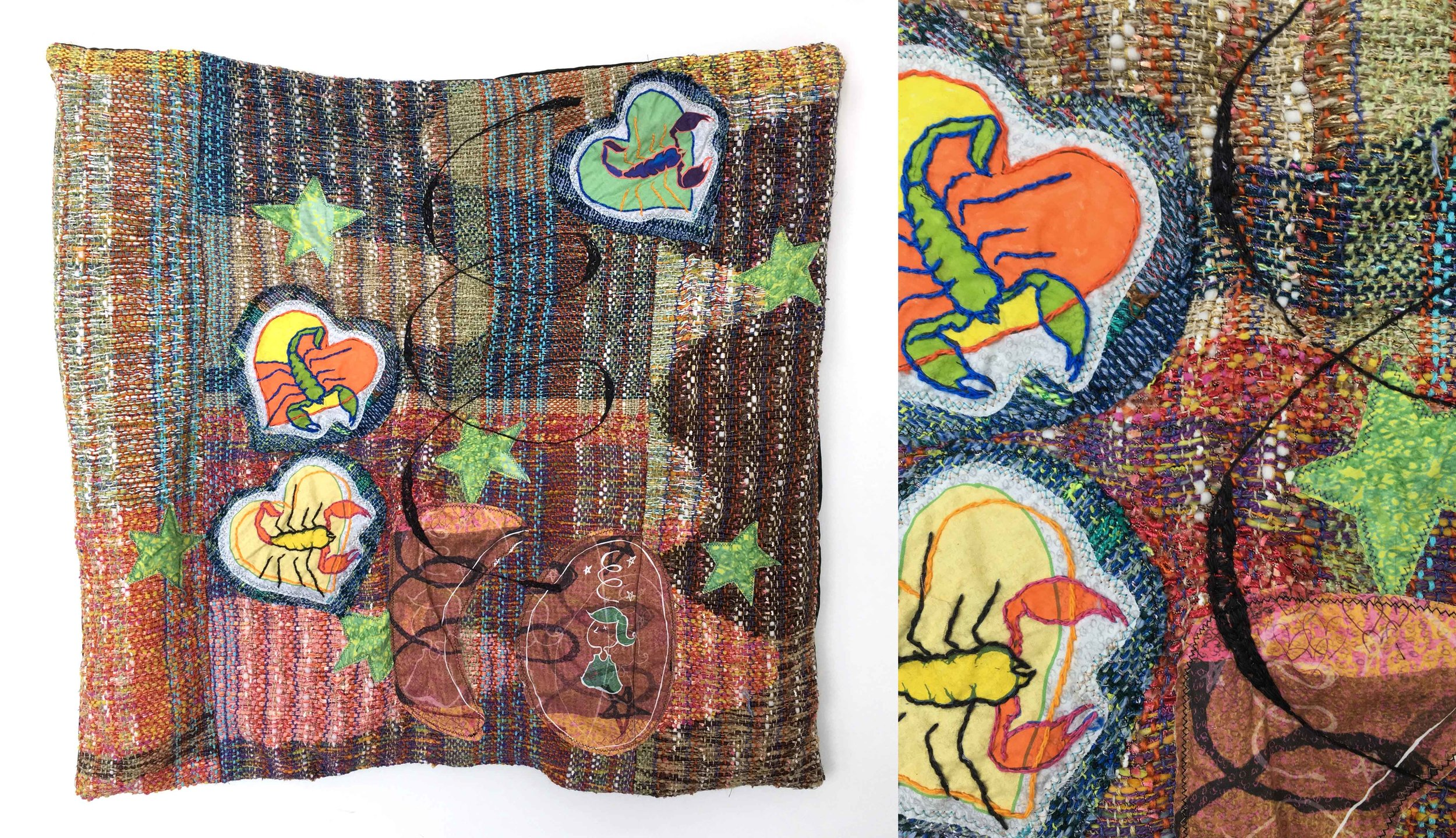 """Mixed Signals  h: 28"""" x w: 28"""" hand-woven and machine-made fabric, embroidery, inkjet prints, fleece 2017"""