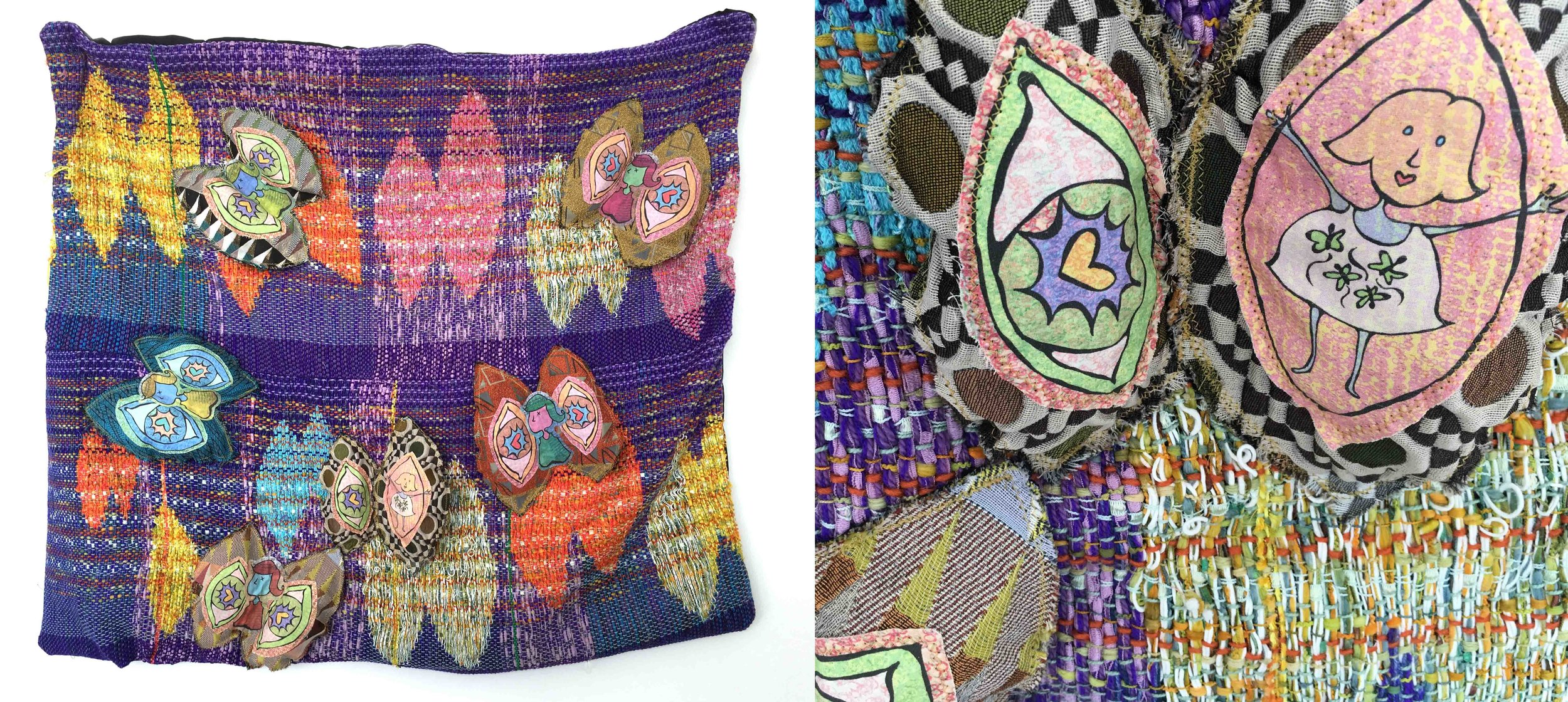 """Butterflies in My Stomach  h: 32"""" x w: 35"""" hand-woven and machine-made fabric, embroidery, inkjet prints, fleece 2017"""