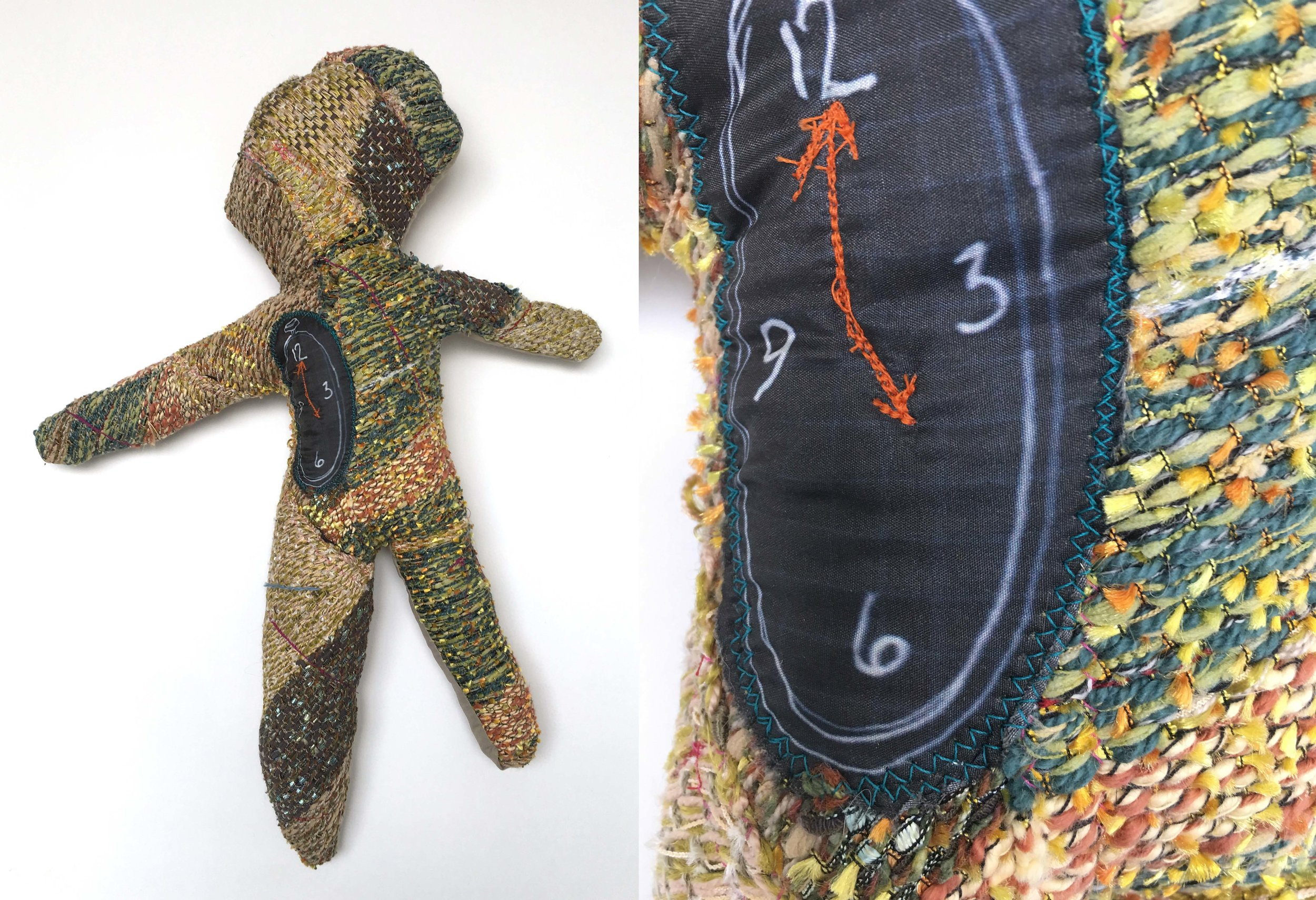 """My Clock is Ticking  h: 21"""" x w: 16"""" hand-woven and machine-made fabric, embroidery, inkjet prints, fleece 2017"""