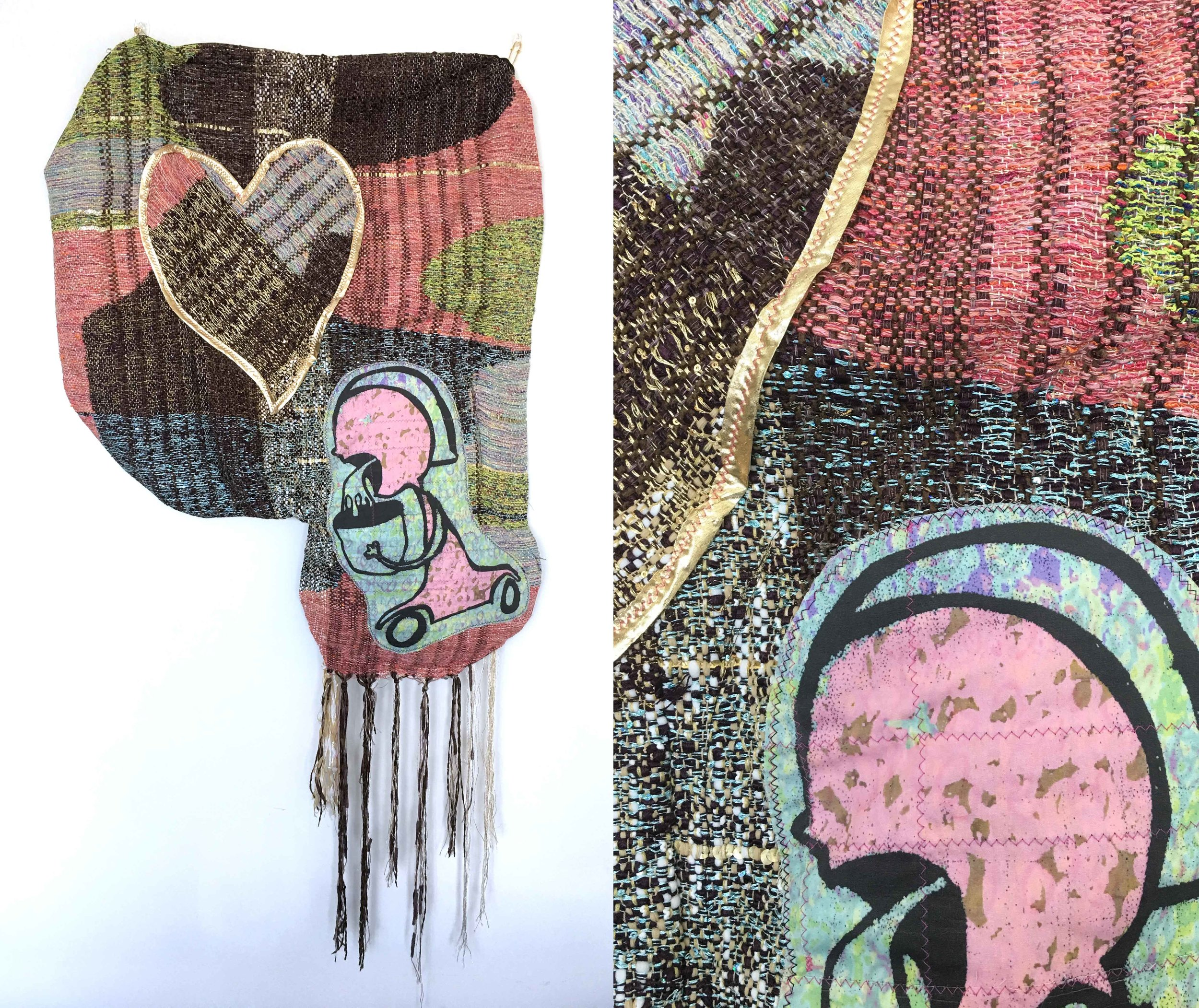 """Really Love Sick  h: 36"""" x w: 28"""" hand-woven and machine-made fabric, embroidery, inkjet prints, fleece 2017"""