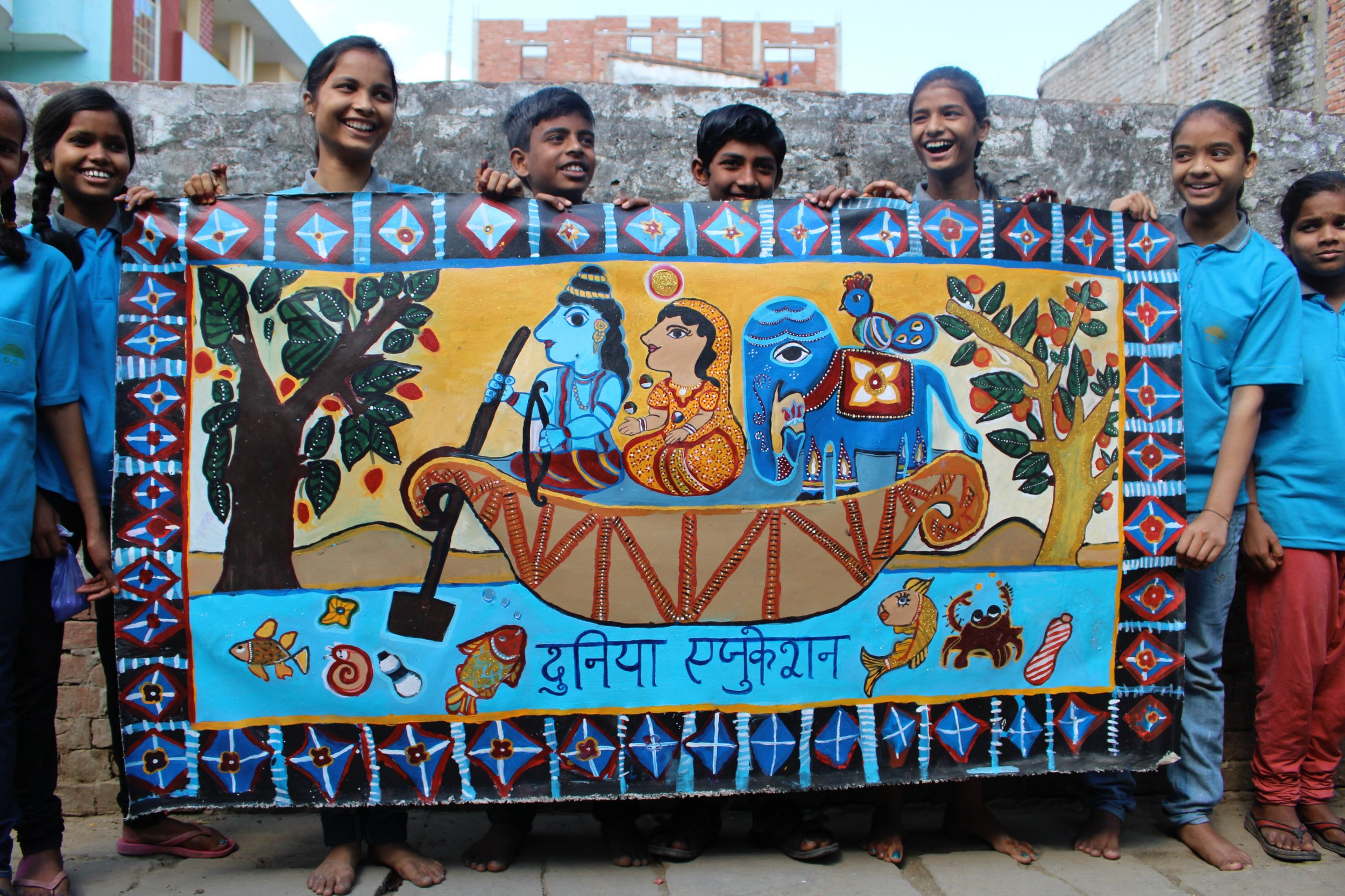 Dunyia School.  by Lillian Myers and students and adults of Dunyia school, Varanasi, India. 2017. Acrylic on canvas