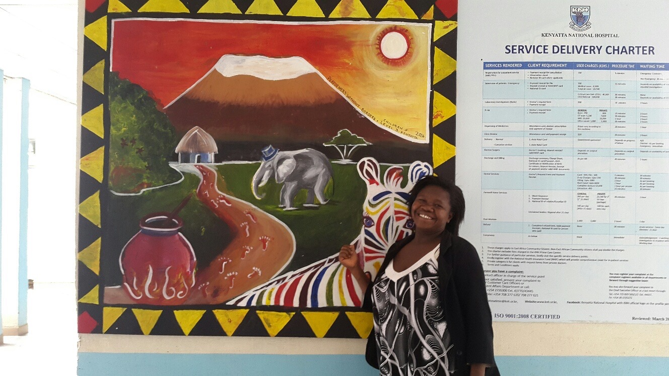 Mount Kenya.  By Lillian Myers and the children of Kenyata National Hospital burn unit. Acrylic on canvas. 2016