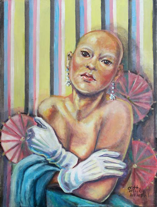 "Battle : Breast Cancer Awareness Series     acrylic 20 x 16"""