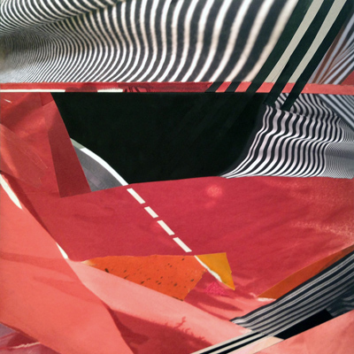 Florence Weisz : Stripes 8, alcohol ink and digital photo collage on panel 24 x 24 x 2 inches