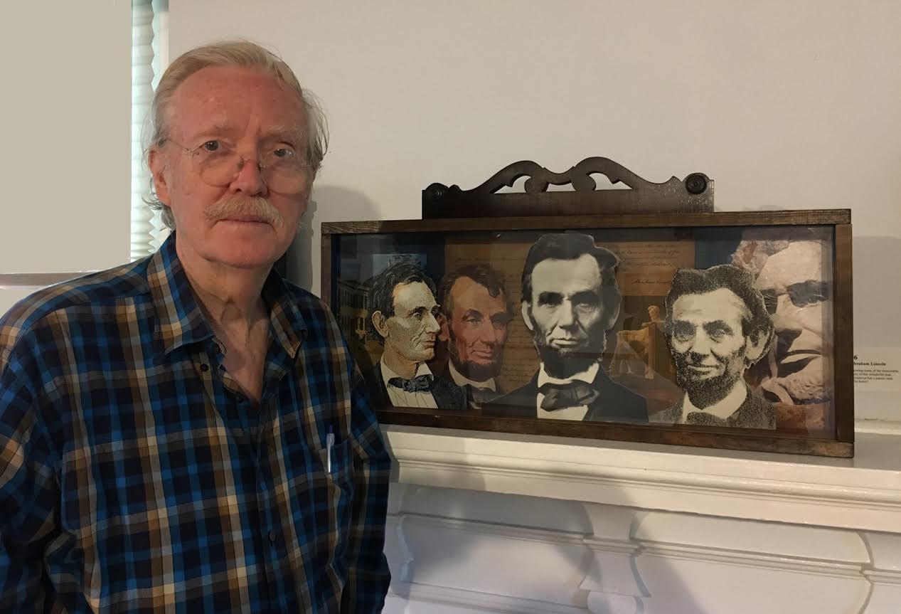 "Artist Bob Freese with his ""Presidential Shadow Box #16 Abraham Lincoln"""