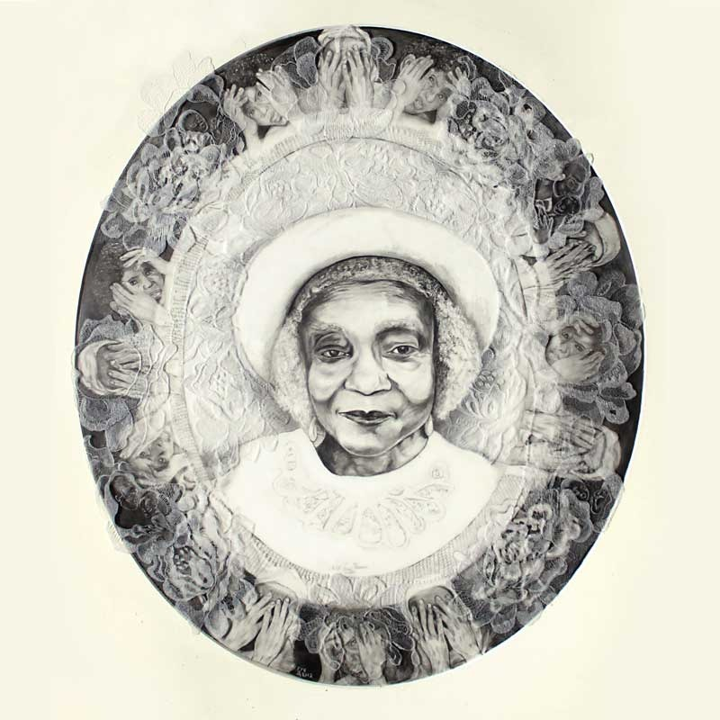 """Aunt Sarah by Nette Forne Thomas Mixed media: ~ Size: 26x24"""" Description : Dry point etching on acetate over graphite drawing"""