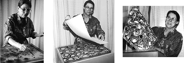 Myrrh doing marbled paper, 1990, as part of her investigation of fluid flow patterns.
