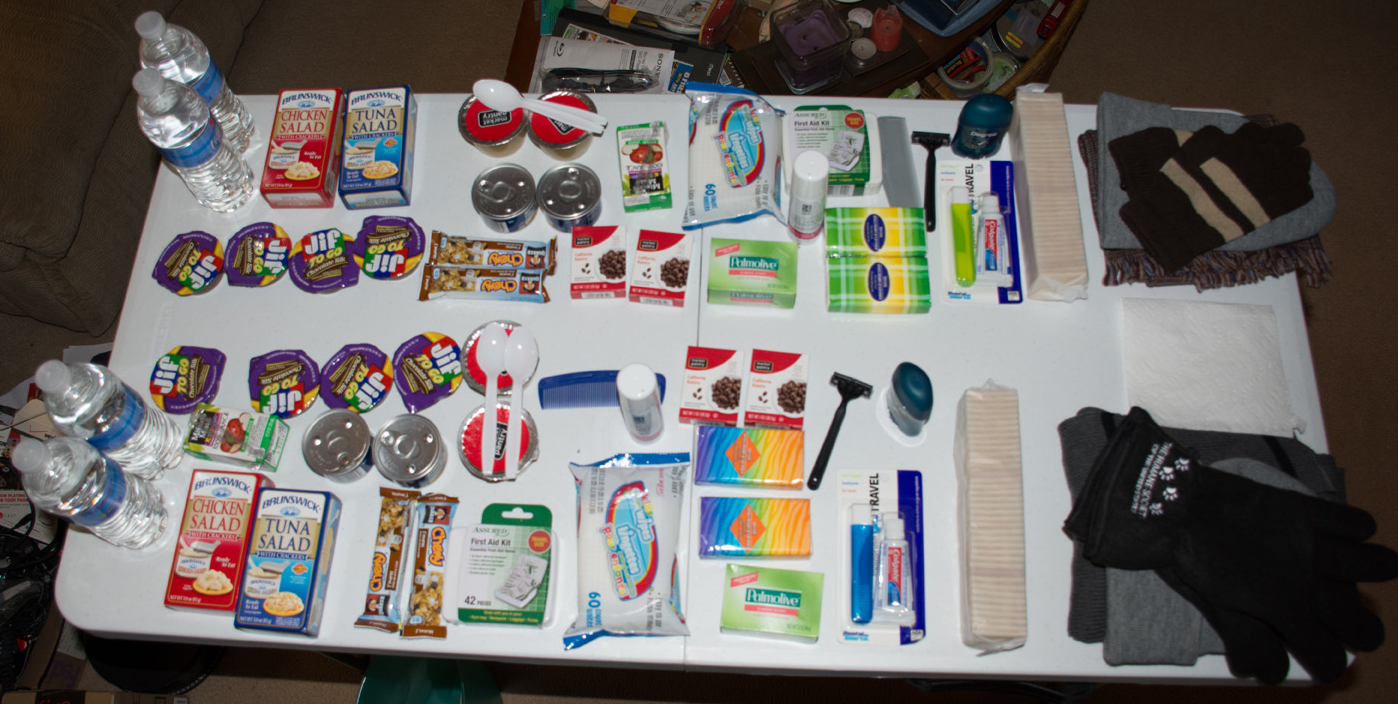 Contents ready to be packed into two backpacks.