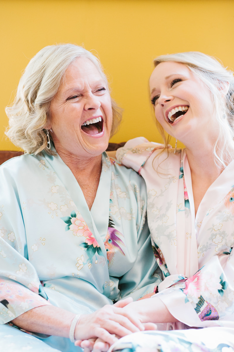 Bride and Mom Laugh