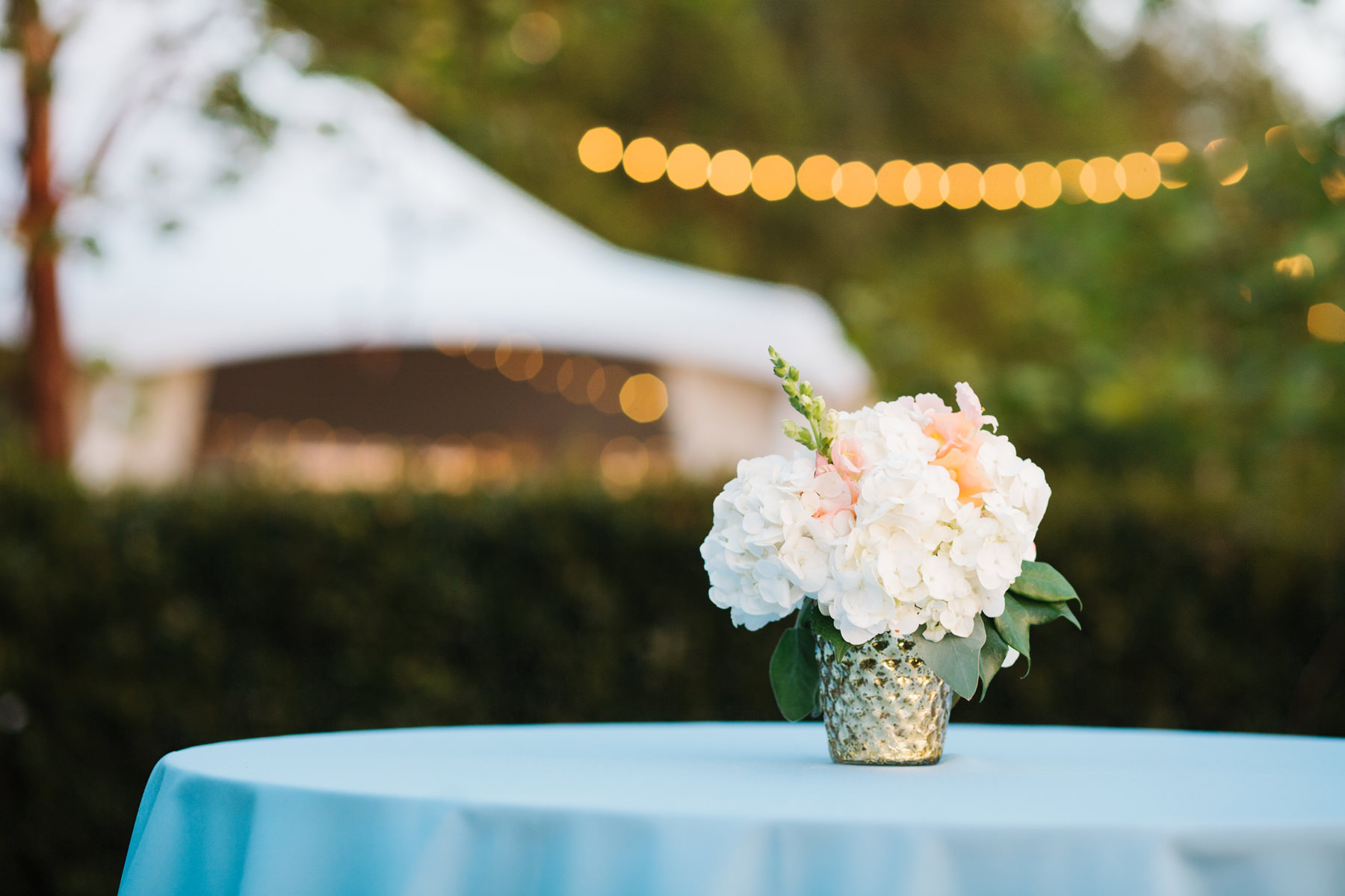 Outdoor Wedding Cocktail Table Decor