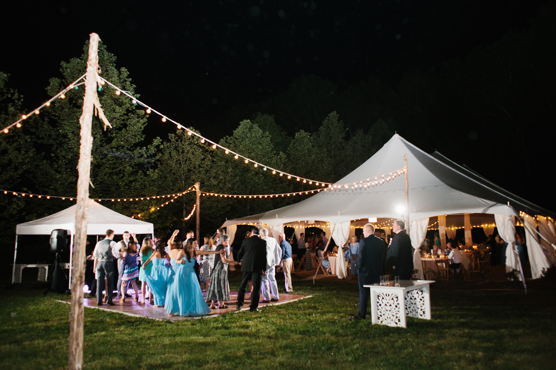 Outdoor Dance Floor and Tent with Lights