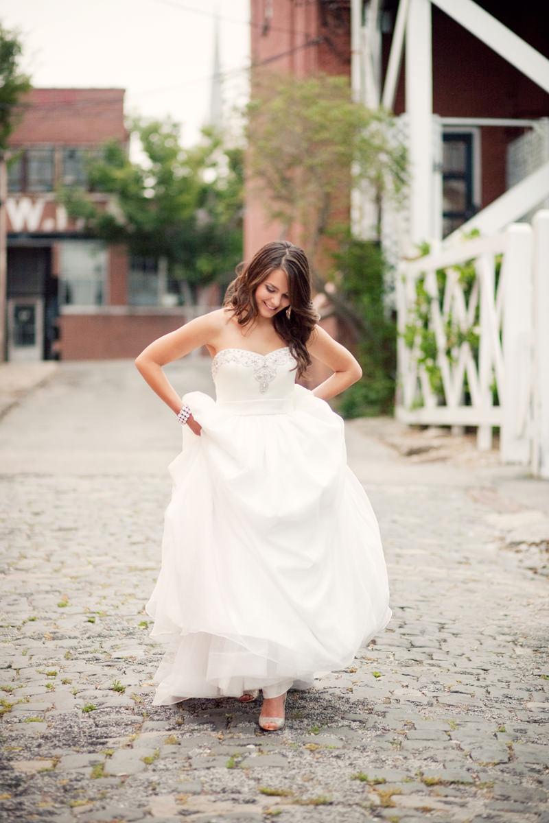 Downtown Wilmington Cobblestone Bridal Session NC
