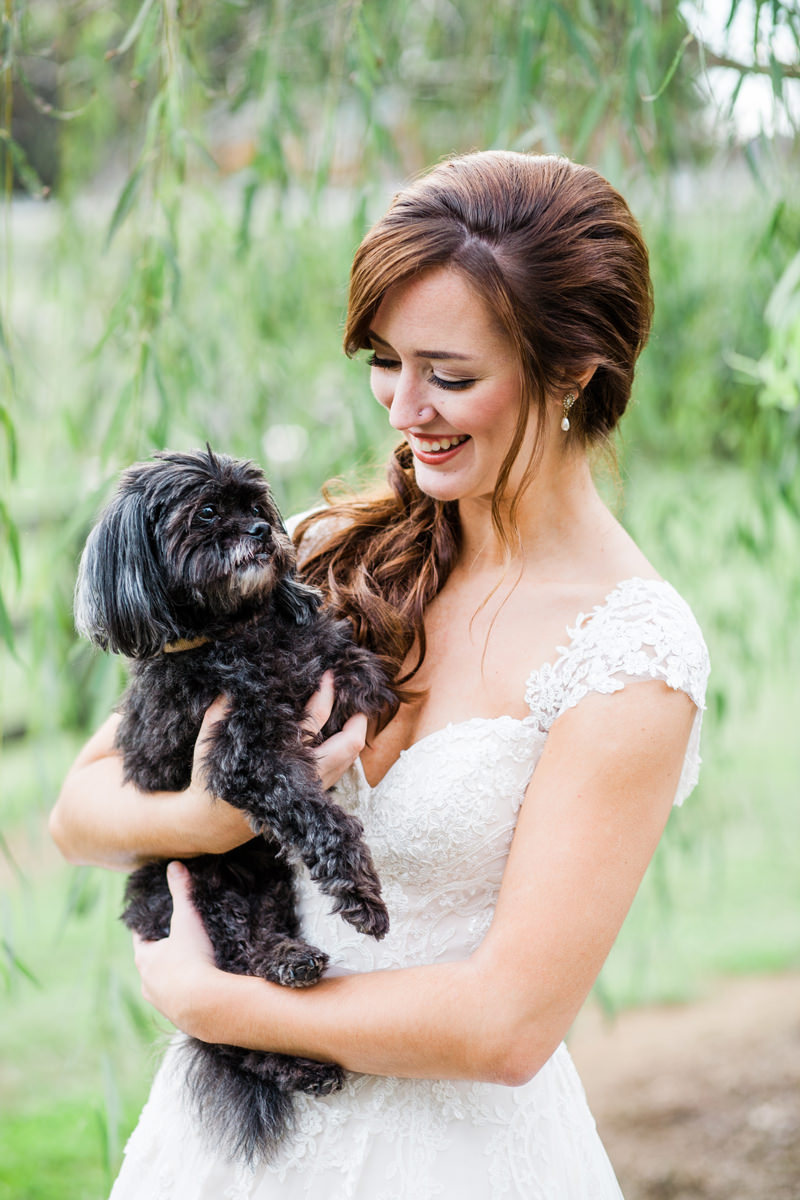 Barn at Woodlake Meadows Bridal Session, Bride with Dog