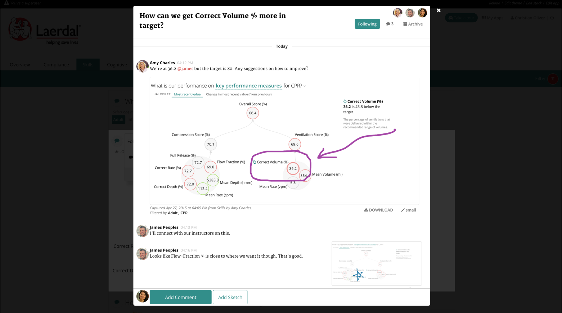 Juicebox's discussion feature lets users capture, discuss, and share the insights they find in the data.
