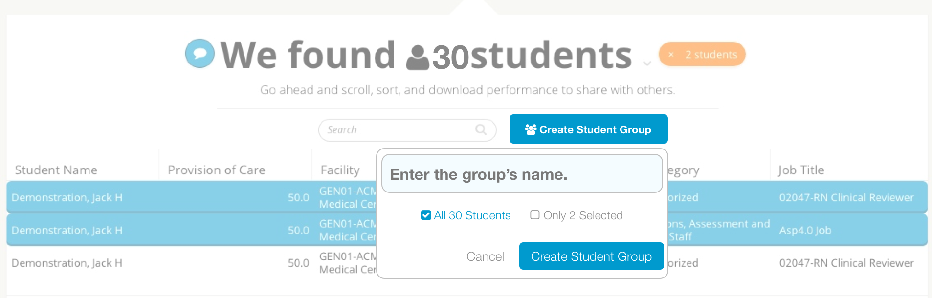 """Embedded actions, like this """"Create Student Group"""" button, makes for a short step between analysis and action."""