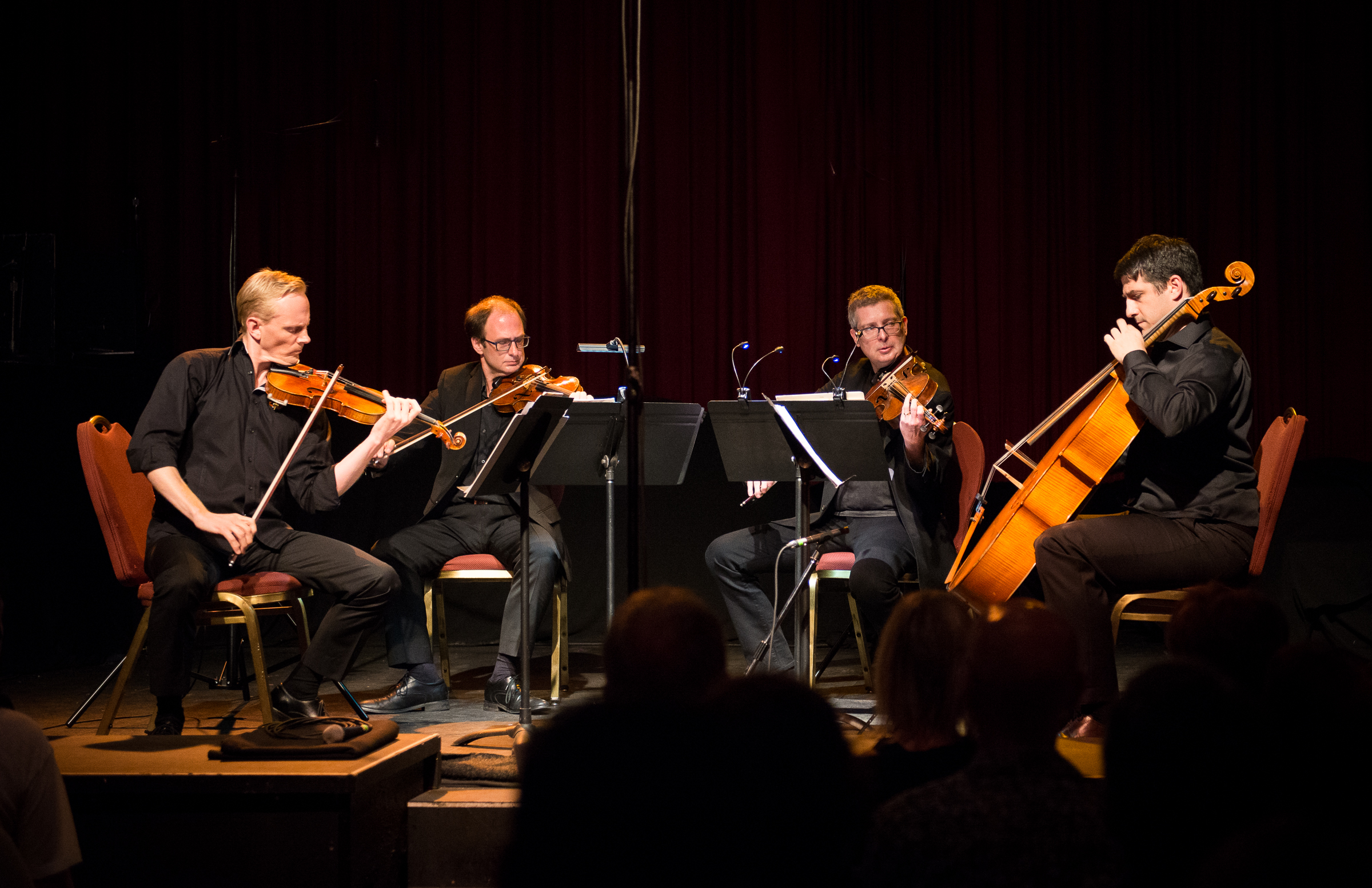 "Archytas Quartet, ""an der spitze"", in the World Premier of Marcus Goddard's ""Three Wings"". Fox Theatre, Vancouver, Canada, presented by   Music on Main  . Photography:     Jan Gates"