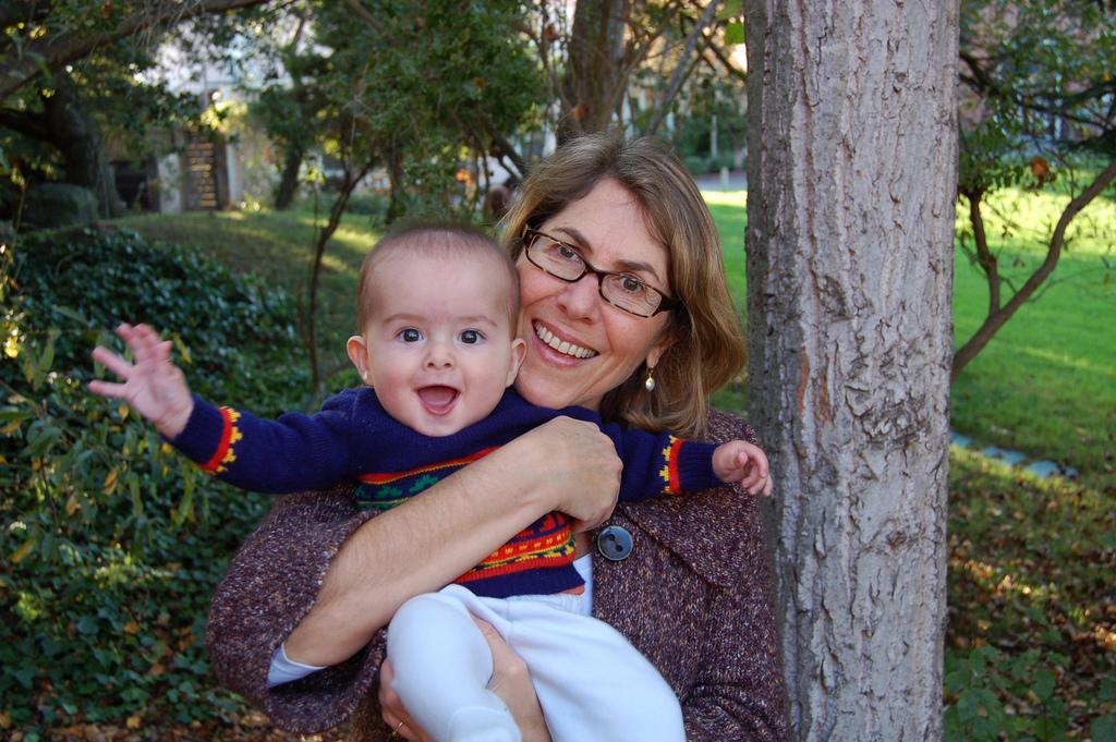 Elizabeth with her first grandchild.
