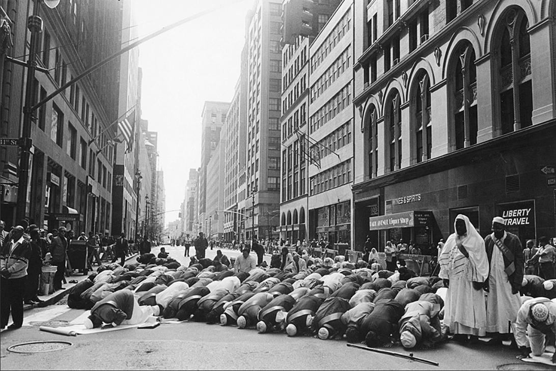 ©  Ed Grazda   Prayer before Muslim Day Parade, NYC 1995