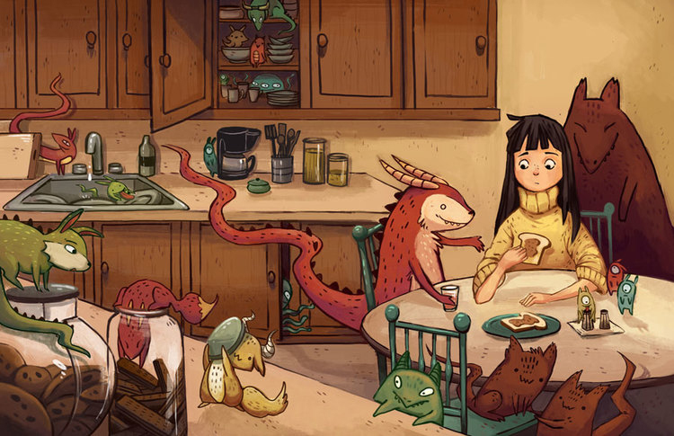 Monsters In My House -  A spread from My Self-published children's book  Monsters In My House  won the Brenda Clark book prize award in 2014, it was also short-listed for the Canadian Self Publishing awards in 2014.