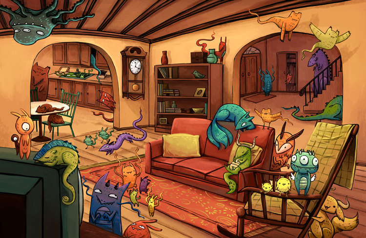 Monsters In My House -  Another spread from My Self-published children's book  Monsters In My House