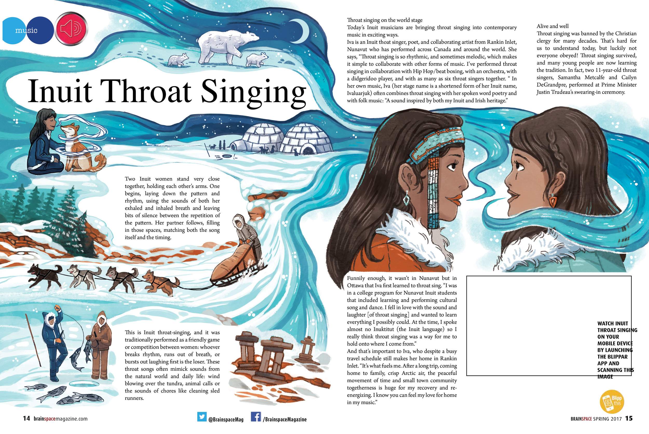 Spread for BrainSpace Magazine  - about Inuit throat singing and how it was used to tell stories