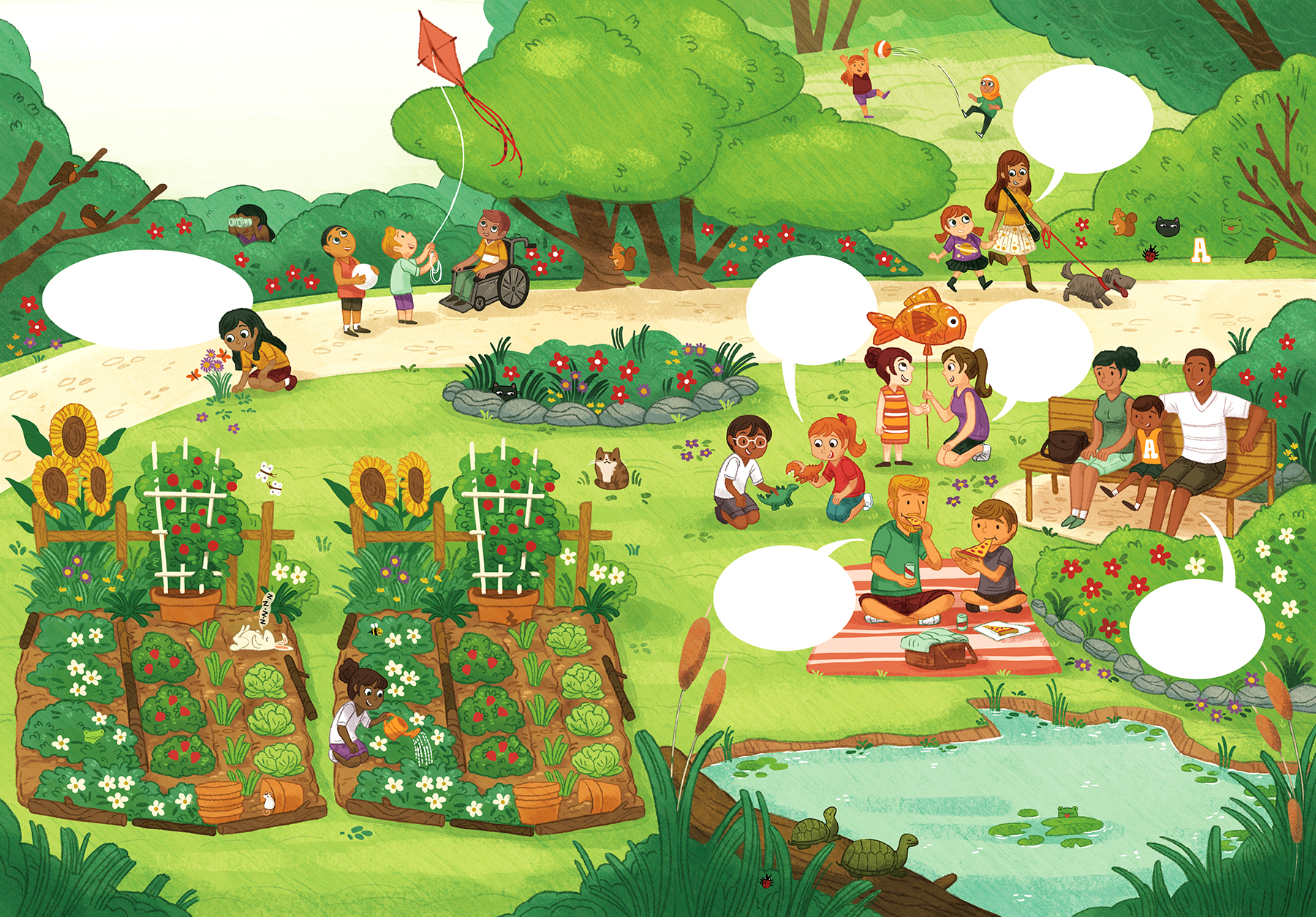 A spread I did for  Owl Kids: Chickadee Magazine , I had so much fun illustrating this and hiding the differences in the gardens on the left!