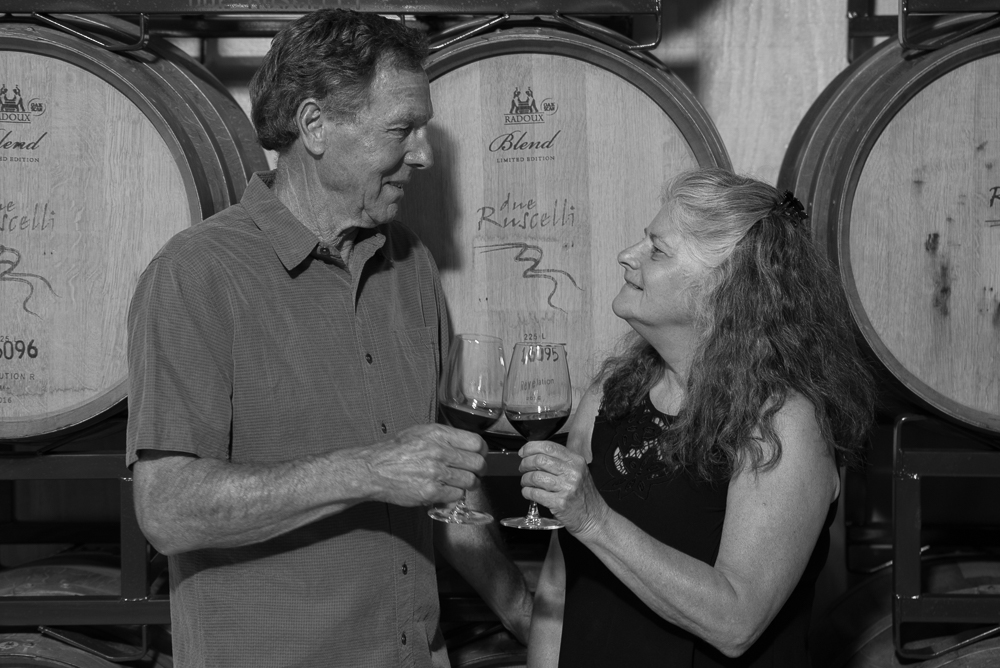 Mike & Melissa raise a toast in the winery