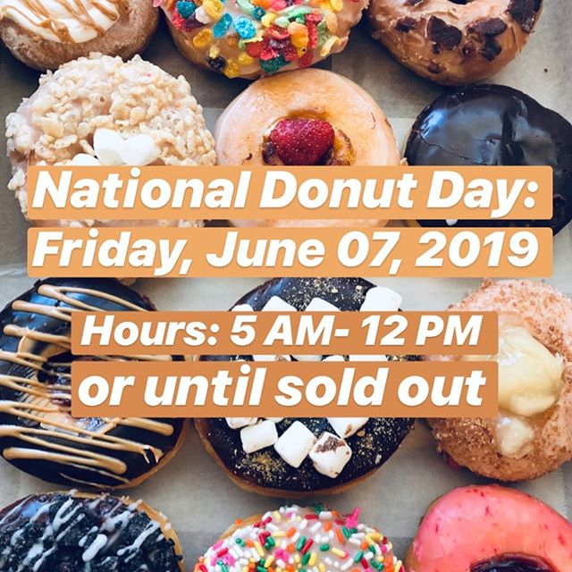 Tomorrow is the day we've all been waiting for... National Donut Day!!! We will be closing at 12 PM tomorrow or until sold out. We will no longer be taking anymore pre-orders tomorrow to sufficiently meet the high demand of donuts. Thank you for understanding and hope to see you celebrate with us on this special day!!! #donuts #donutsville #nationaldonutday