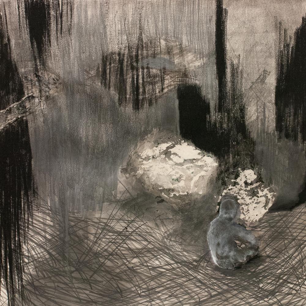 "Exitus, Mixed Media on Paper, 40"" x 40"", 2013"