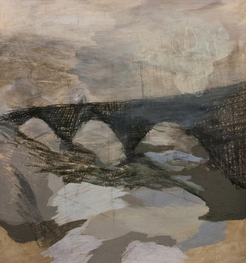 "Mirabeau Bridge, Mixed Media on Paper, 41.5"" x 44.5"", 2013"