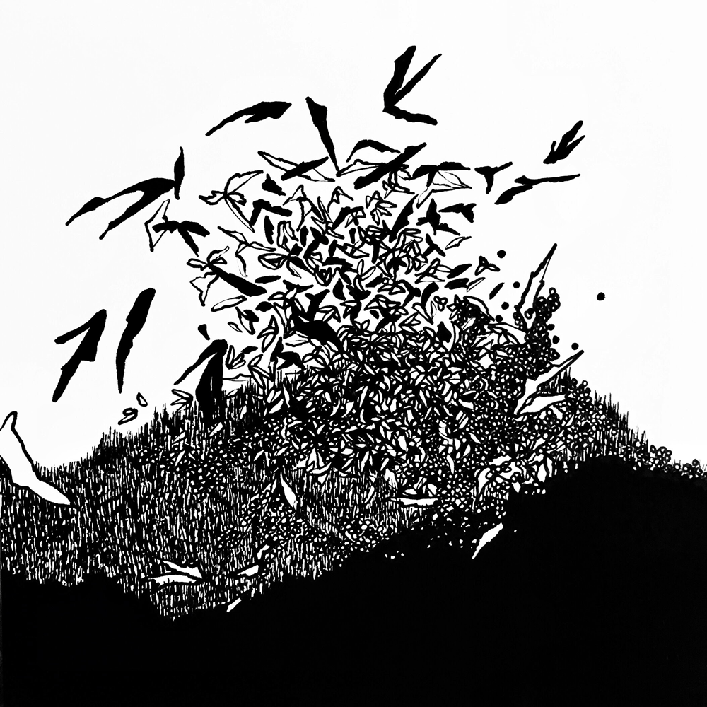 "Elate, Pen and Acrylic on Claybord, 6"" x 6"", 2017"