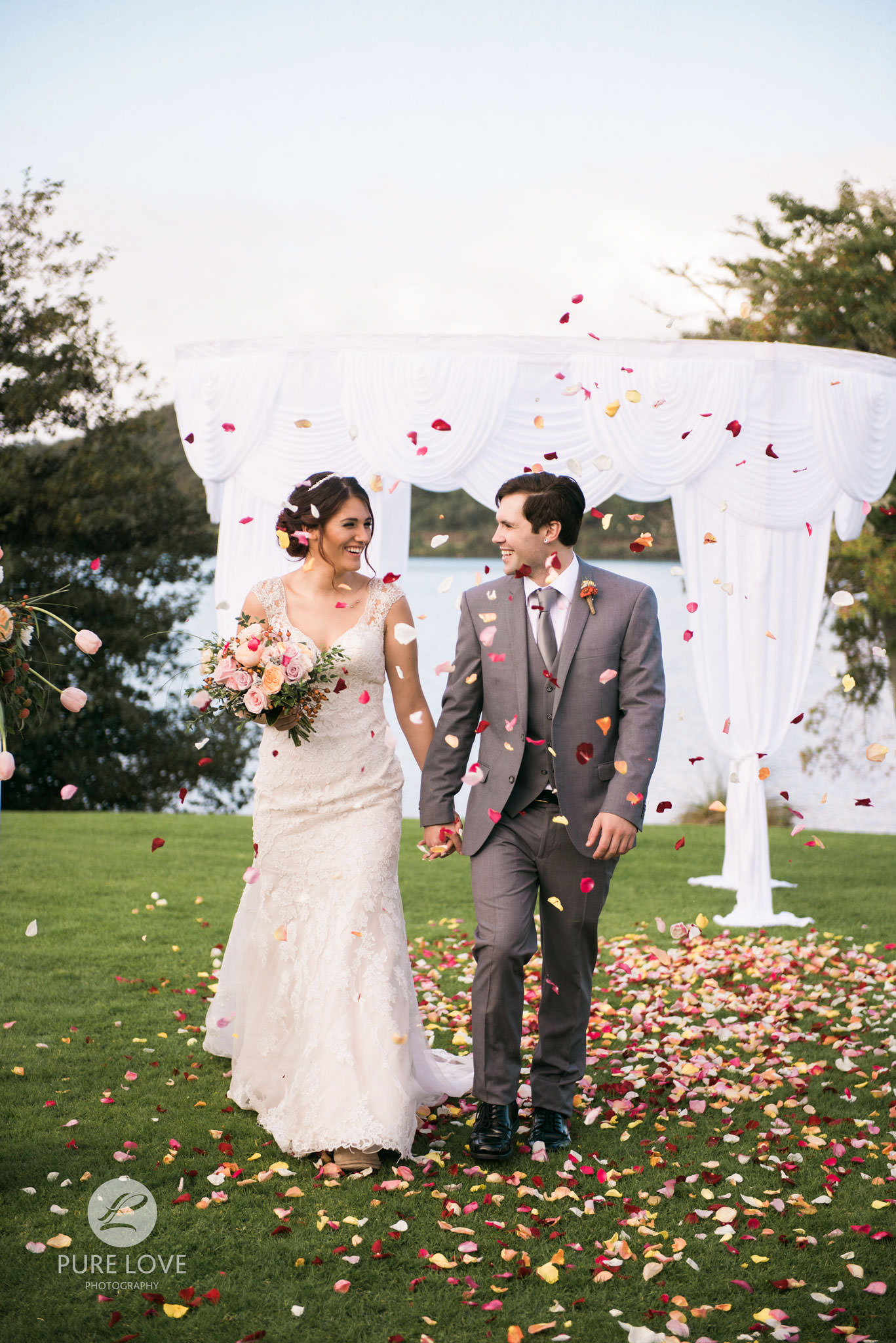rose petal toss at ceremony exit