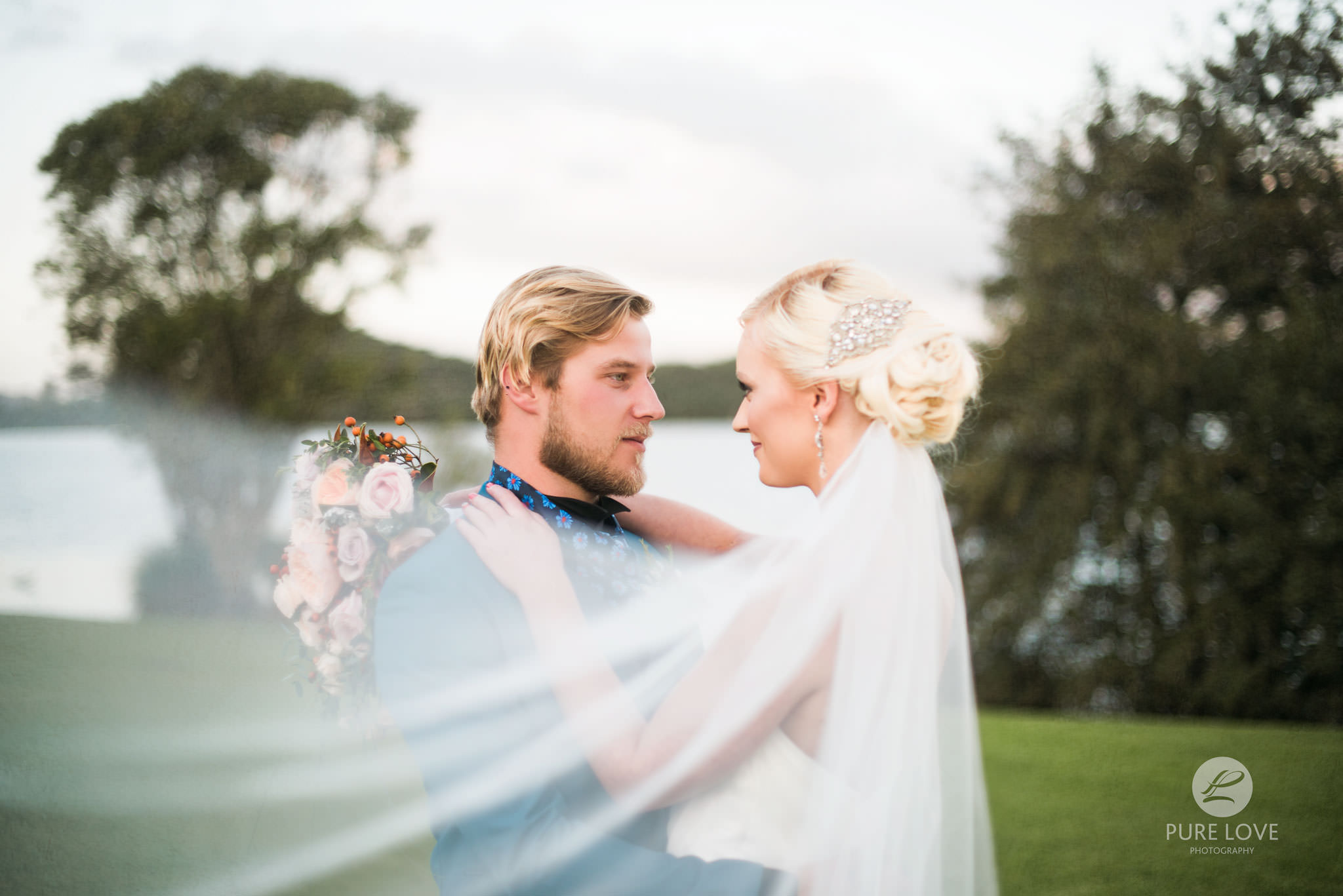 bride and groom awesome photo with veil