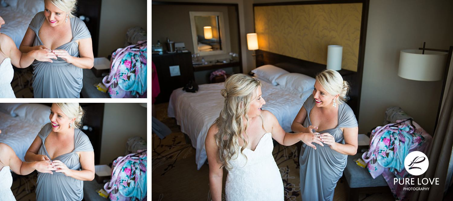 Bride is having fun with her bridesmaid. Candid bride's preparation moments.