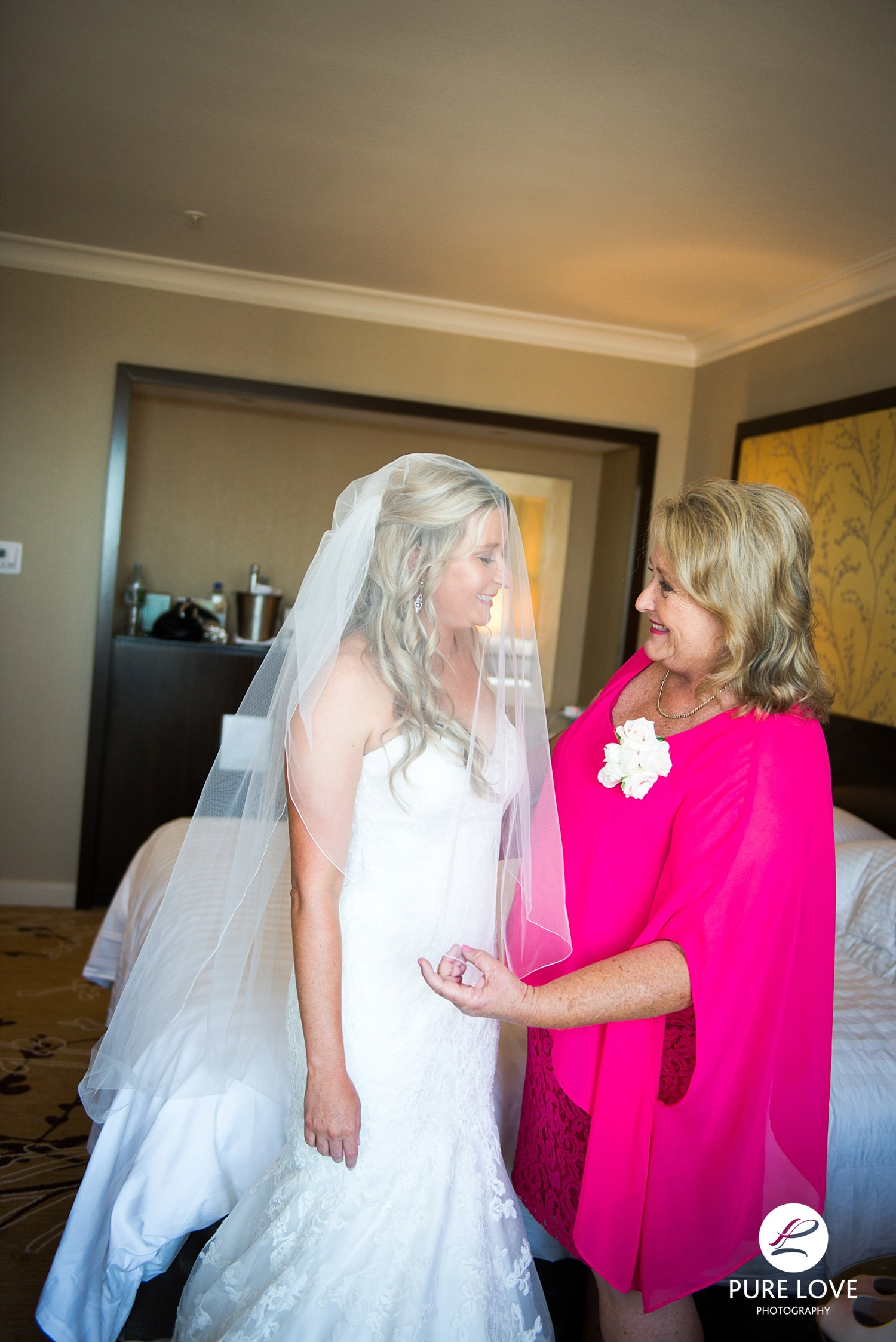 Bride with her mother. Emotional moments.