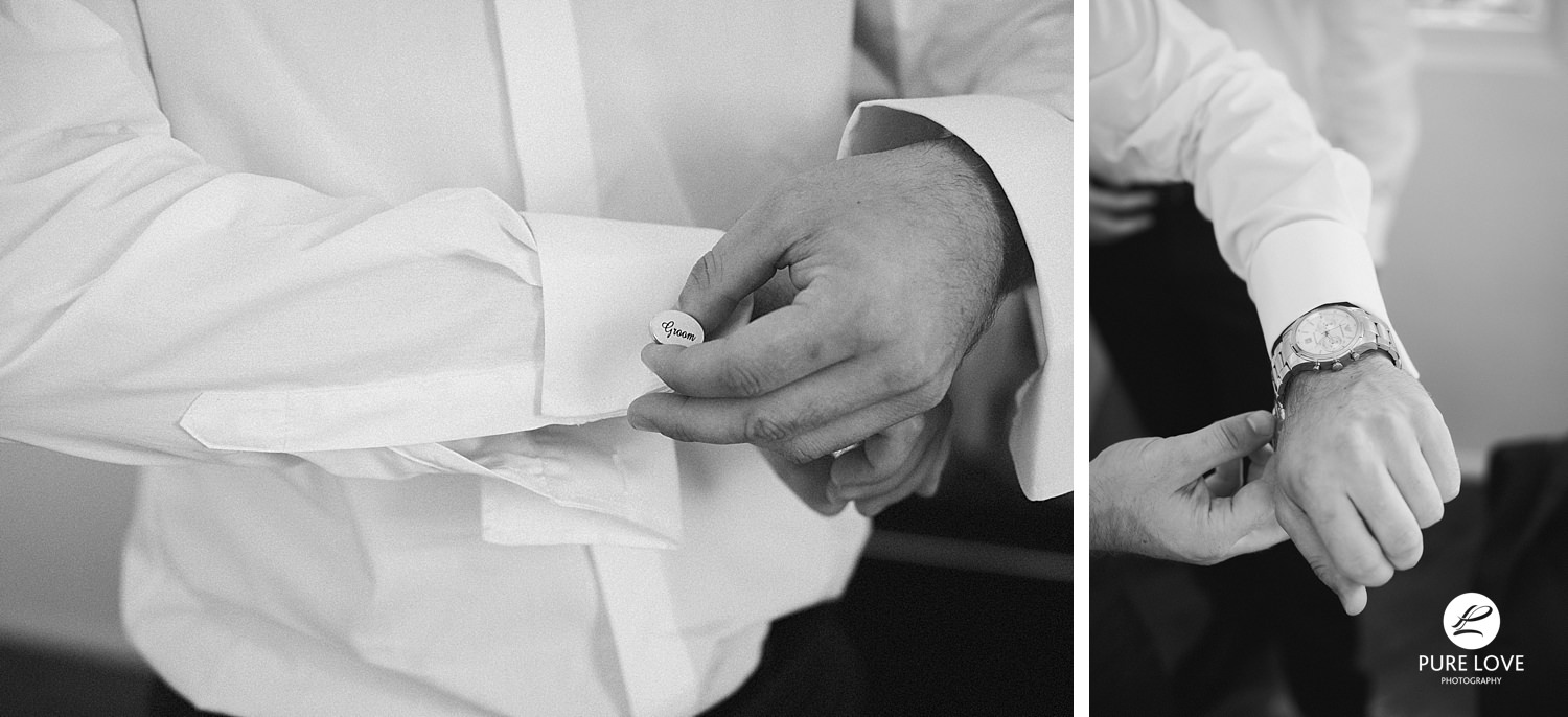 Groom's preparation moments. Groom putting cufflinks on.