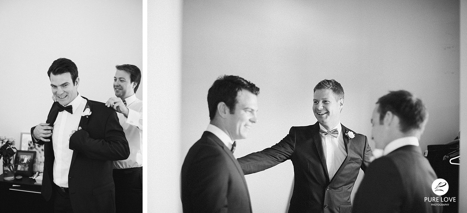 Groom is having fun with his groomsmen. Candid preparation moments