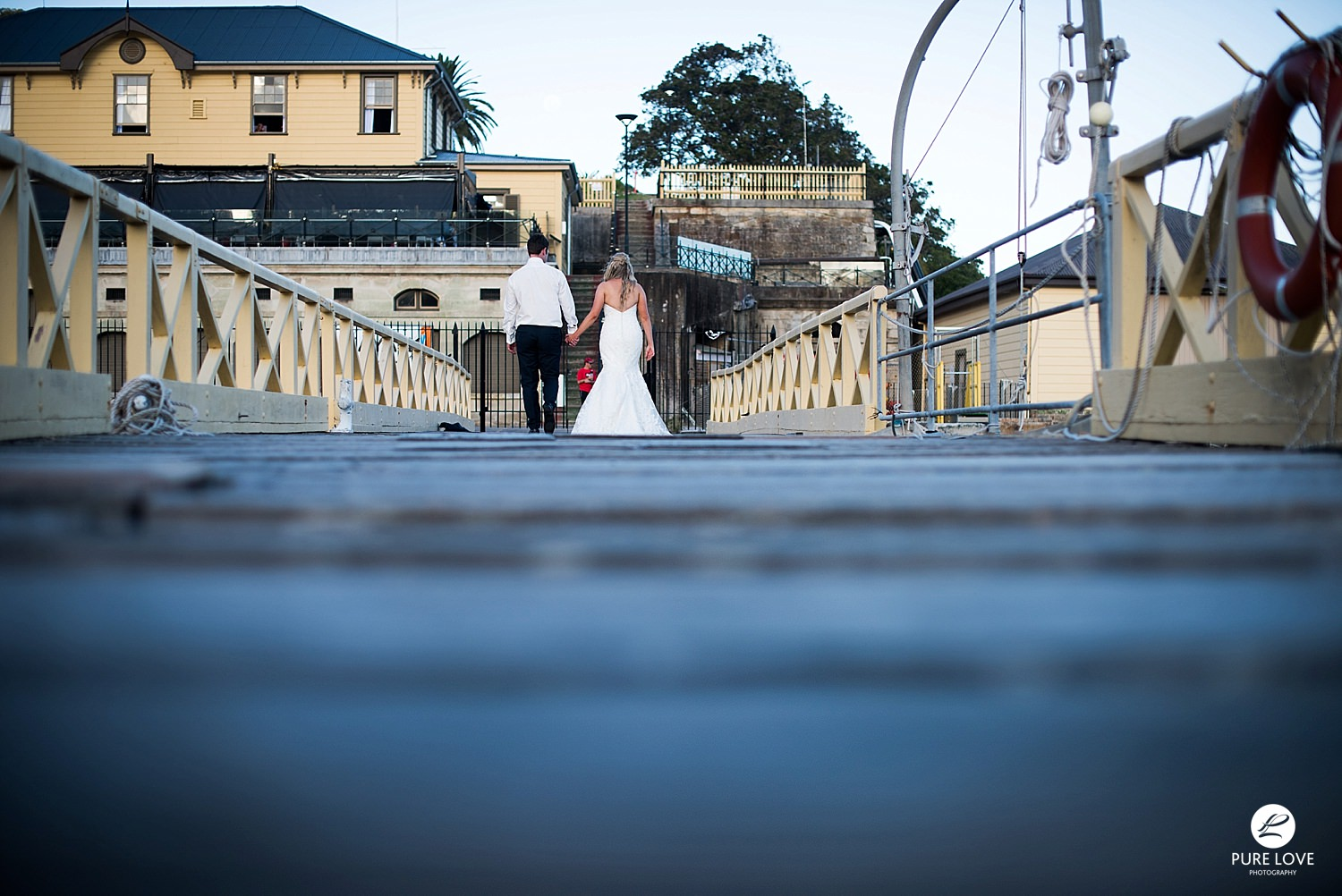 Bride and Groom walking away together