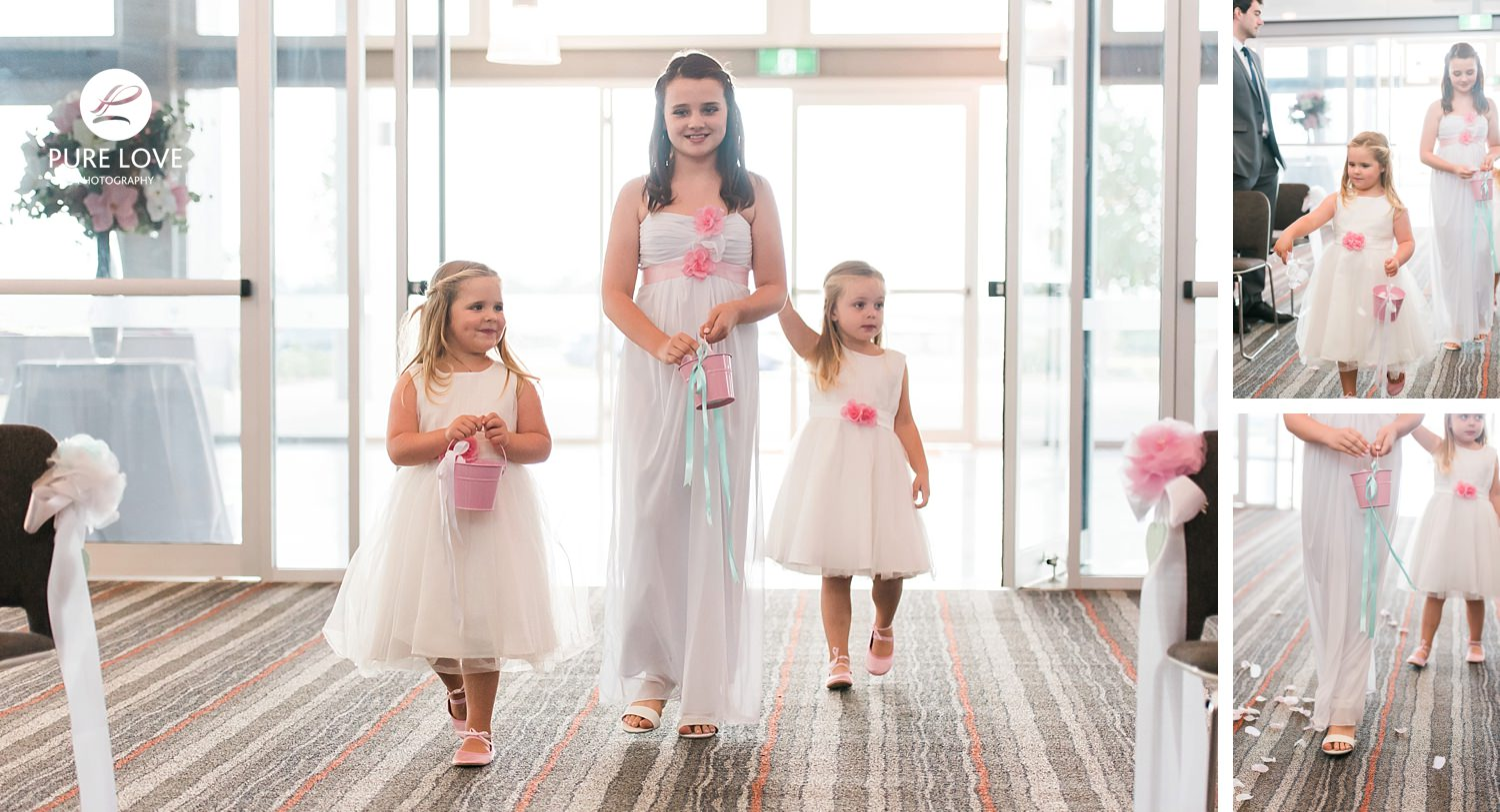 flower girls with petals at ceremony