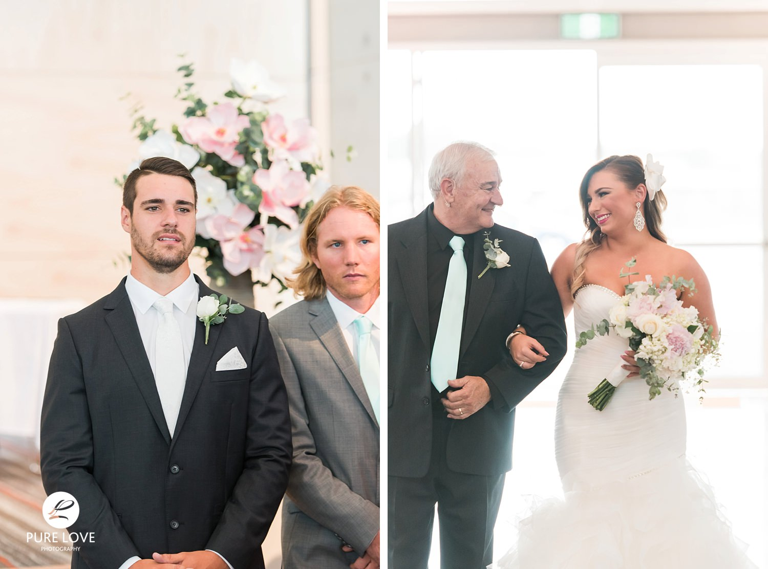 Bride walking with her dad down the isle. Grooms first look