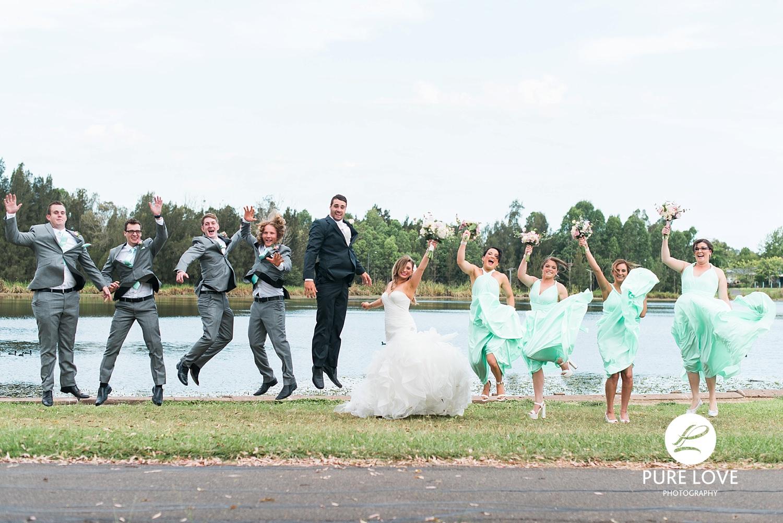 bride groom bridal party jumping. funny photos