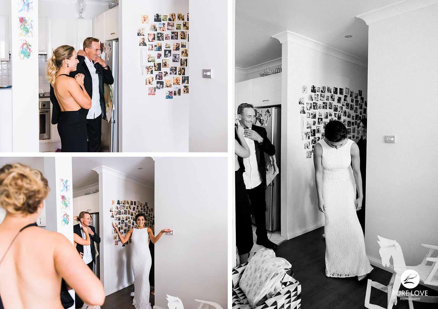 Bride is showing her dress for the first time. Great reaction from bridesmaids and family