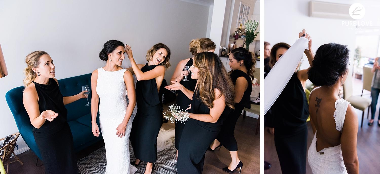 bride's preparation moments. bridesmaids in black