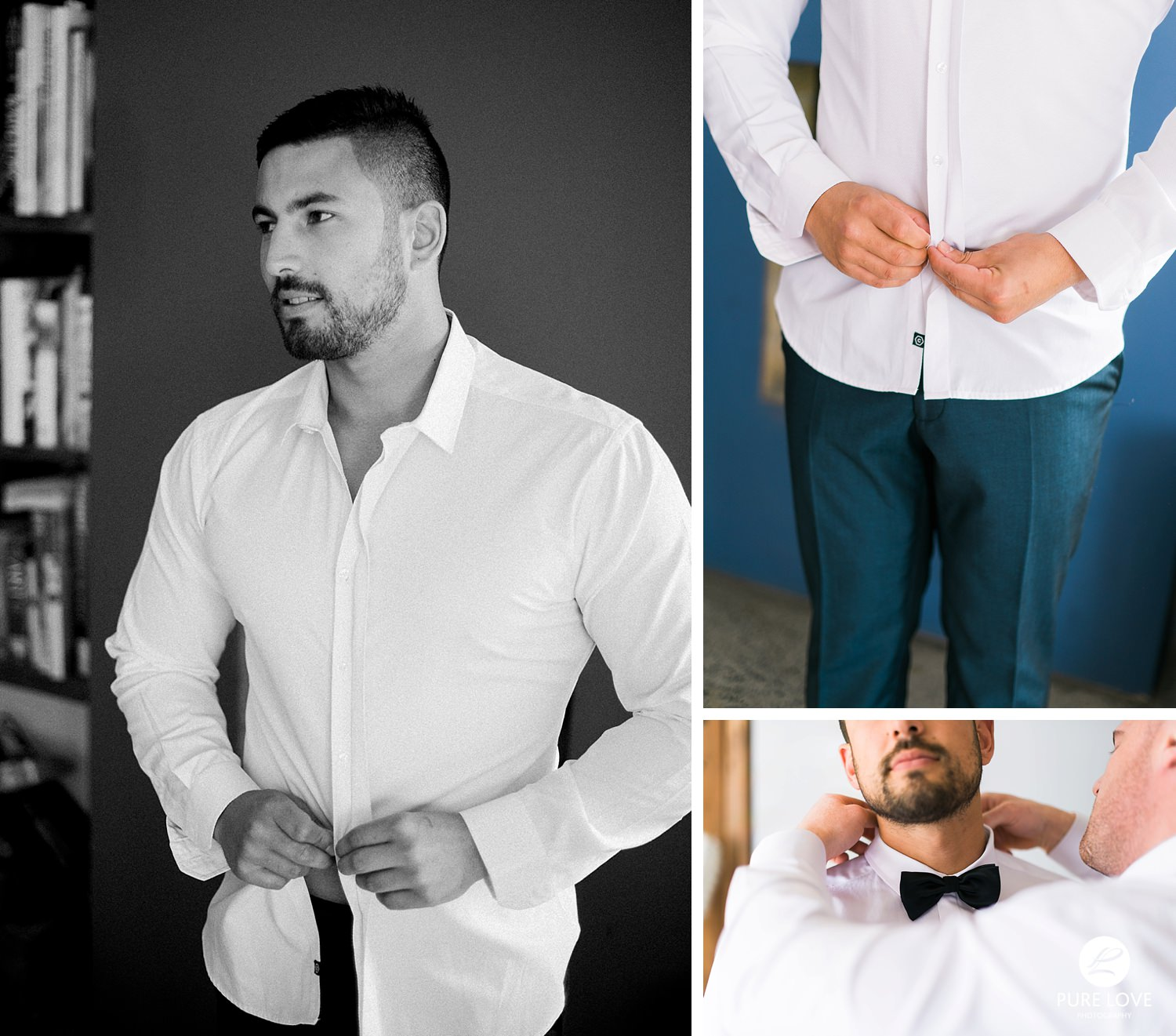 groom is getting ready. buttoning his shirt