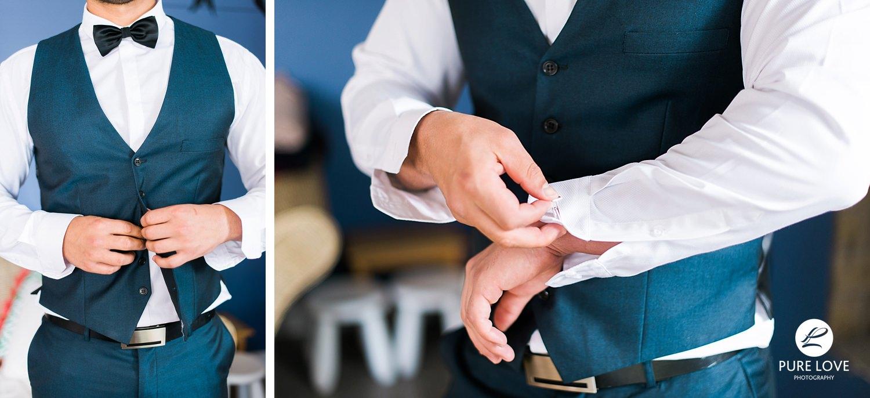 groom buttoning his vest. groom putting in cufflinks