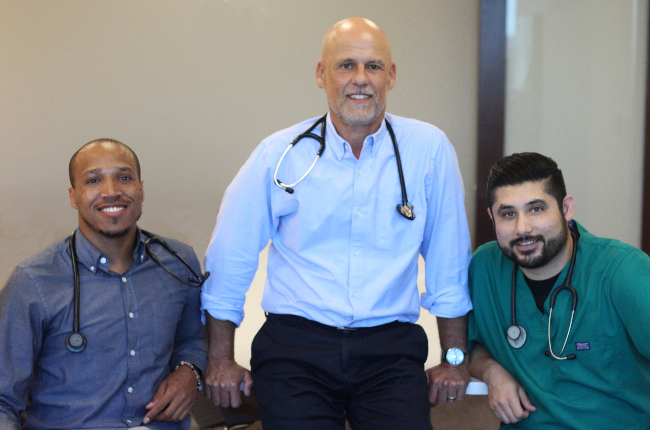 Left: Jamal T. Bracken - Physician's Assistant, Middle: Dr. Phillip Musikanth M.D., Right: Tony Segovia - Medical Assistant