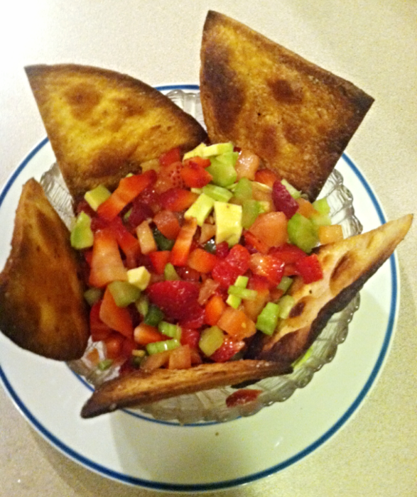 Strawberry Avocado Salsa with homemade tortilla chips