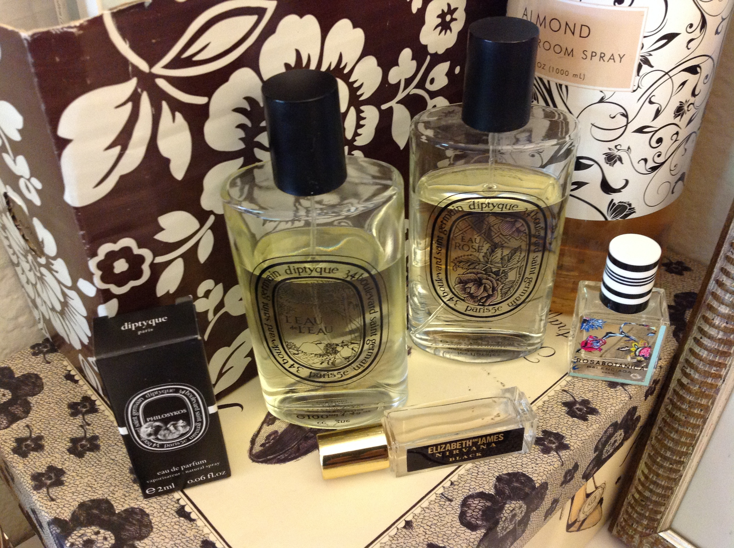 Fragrance.  A complete overhaul of my fragrance collection in the last six months.   Elizabeth and James Nirvana Black   ;   Balenciaga Rosabotanical  ;   Zara Black   and  Diptyque Eau Rose  ;   L'Eau de L'Eau   and   Philosykos   in the summer rotation.