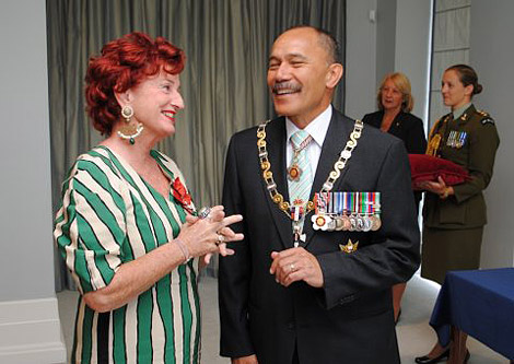 Peta with the Governor-General, Lt General The Rt Hon Sir Jerry Mateparae at her investiture.
